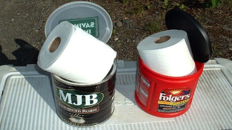 Keep toilet paper dry while camping