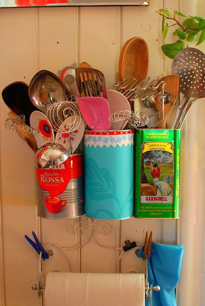 Upcycled coffee can utensil holders
